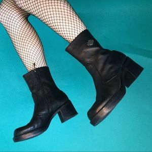 vintage 90s Harley Davidson chunky leather bootie